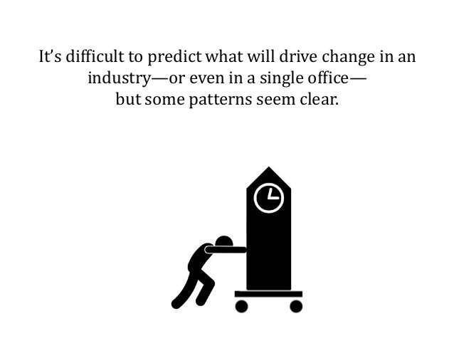 It's difficult to predict what will drive change in an industry—or even in a single office— but some patterns seem clear.