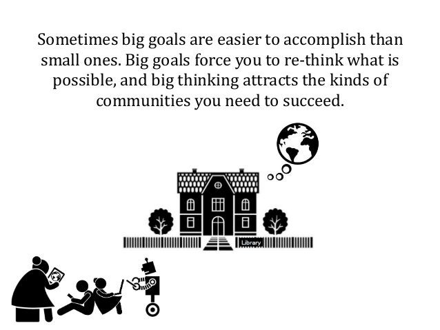 Sometimes big goals are easier to accomplish than small ones. Big goals force you to re-think what is possible, and big th...