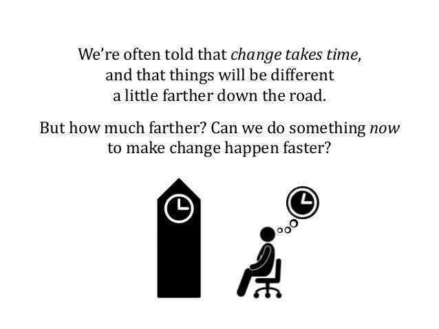 We're often told that change takes time, and that things will be different a little farther down the road. But how much fa...