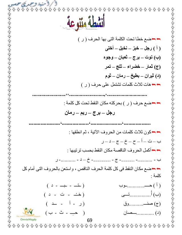 بوكلت اللغة العربية للمدارس الصف الأول الابتدائى الترم الأول المنهج ا…