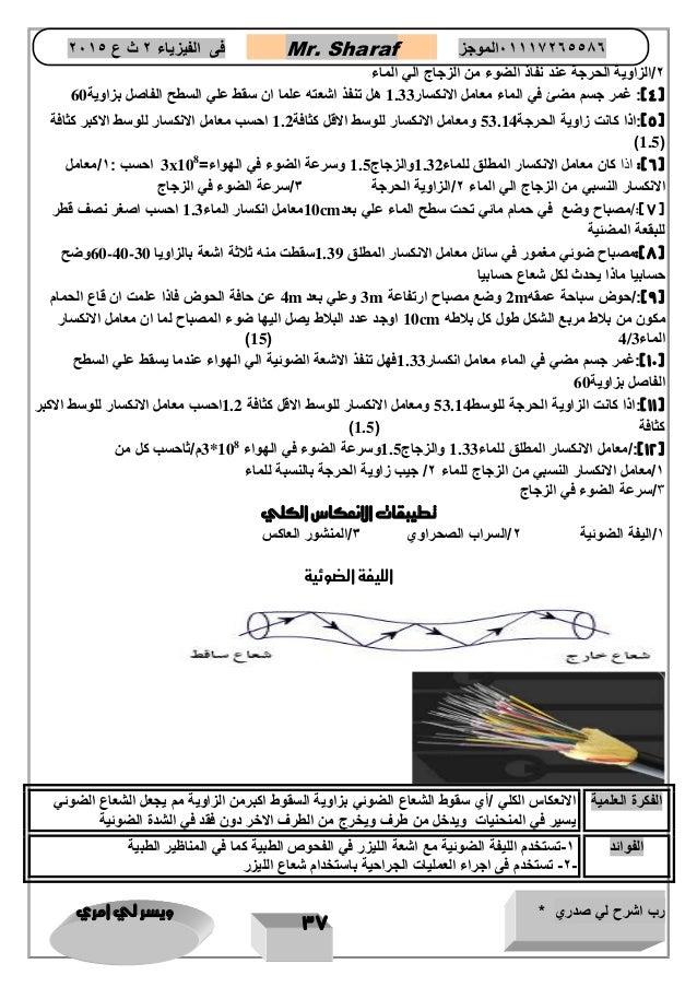 تقويم الفصل الثاني الانعكاس والمرايا ص 62 المصدر السعودي