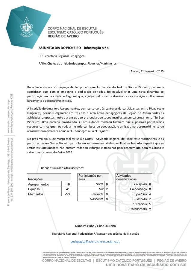ASSUNTO: DIA DO PIONEIRO – informação n.º 4 DE: Secretaria Regional Pedagógica PARA: Chefes de unidade dos grupos Pioneiro...