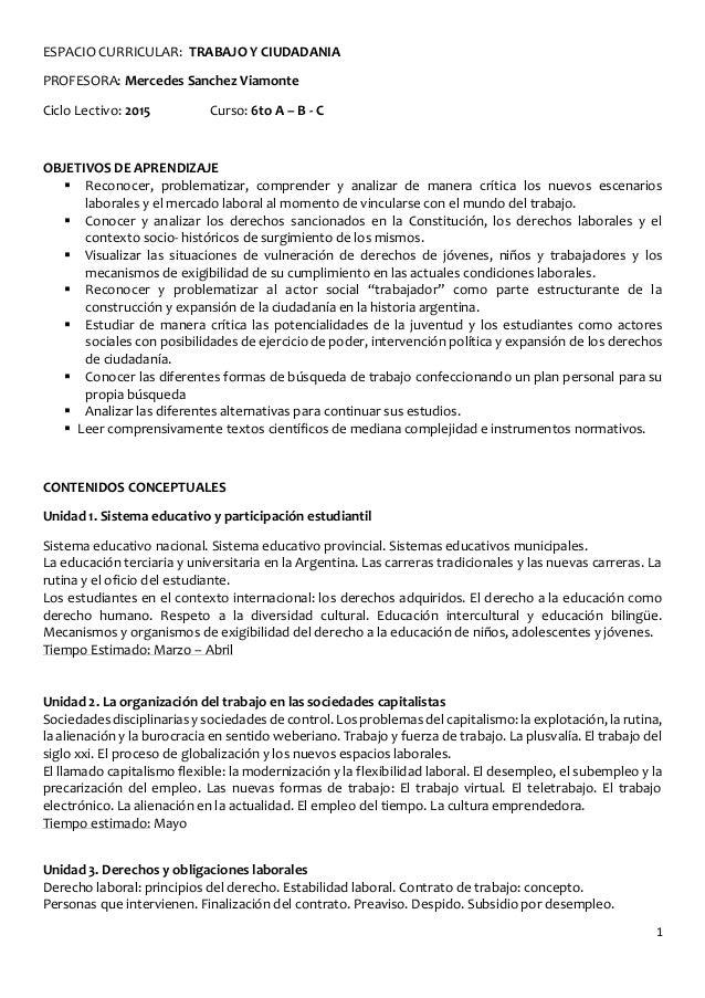 1 ESPACIO CURRICULAR: TRABAJO Y CIUDADANIA PROFESORA: Mercedes Sanchez Viamonte Ciclo Lectivo: 2015 Curso: 6to A – B - C O...