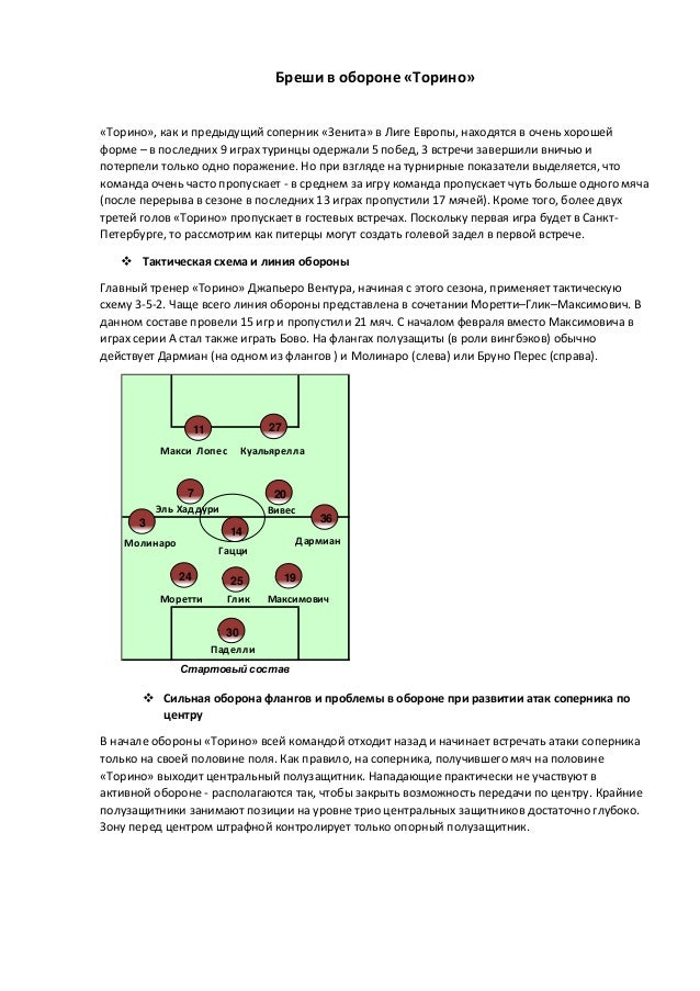 Бреши в обороне «Торино» «Торино», как и предыдущий соперник «Зенита» в Лиге Европы, находятся в очень хорошей форме – в п...