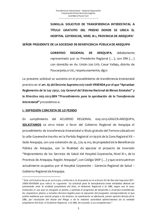 Transferencia Interestatal -Hospital Goyeneche Corporación Hiram Servicios Legales José María Pacori Cari ----------------...