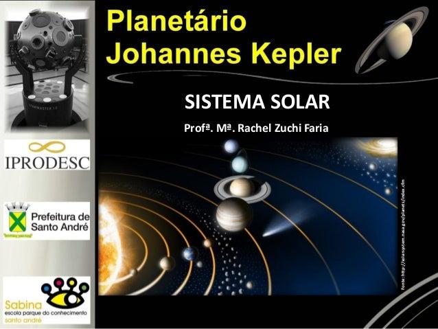 SISTEMA SOLAR Fonte:http://solarsystem.nasa.gov/planets/index.cfm Profª. Mª. Rachel Zuchi Faria