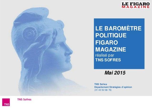 1Baromètre Figaro Magazine – Mai 2015 TNS Sofres Département Stratégies d'opinion (01 40 92 66 76) Mai 2015 LE BAROMÈTRE P...
