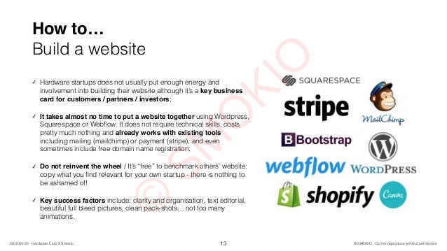 How to… Build a website 13 ✓ Hardware startups does not usually put enough energy and involvement into building their webs...