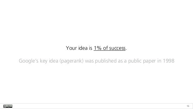 16 Your idea is 1% of success.