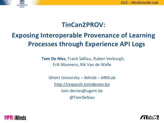 ELIS – Multimedia Lab Tom De Nies, Frank Salliau, Ruben Verborgh, Erik Mannens, Rik Van de Walle Ghent University – iMinds...