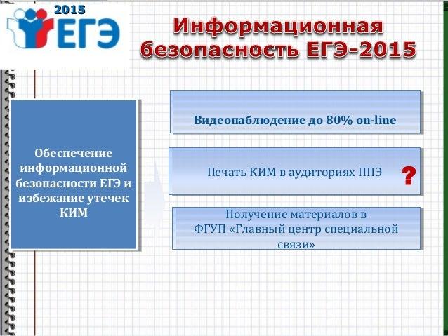 20152015 Обеспечение информационной безопасности ЕГЭ и избежание утечек КИМ Обеспечение информационной безопасности ЕГЭ и ...