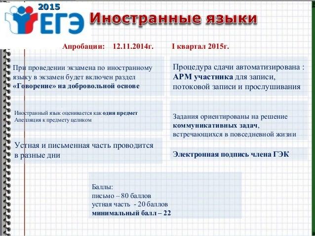 20152015 Апробации: 12.11.2014г. I квартал 2015г. При проведении экзамена по иностранному языку в экзамен будет включен ра...