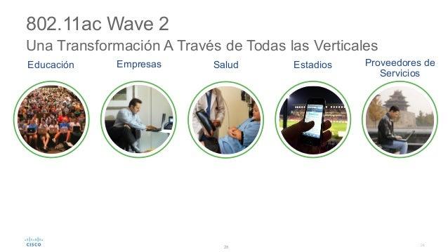 28 802.11ac Wave 2 Una Transformación A Través de Todas las Verticales • Tranformación del Espacio de Trabajo de Nueva Ge...