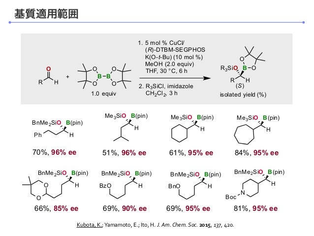 R O 1. 5 mol % CuCl/ (R)-DTBM-SEGPHOS K(O-t-Bu) (10 mol %) MeOH (2.0 equiv) THF, 30 °C, 6 h 2. R3SiCl, imidazole CH2Cl2, 3...