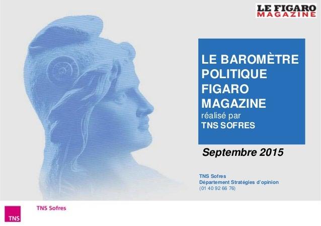 1Baromètre Figaro Magazine – Septembre 2015 TNS Sofres Département Stratégies d'opinion (01 40 92 66 76) Septembre 2015 LE...