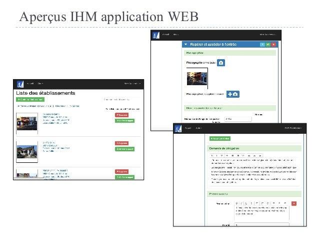 Aperçus IHM application WEB