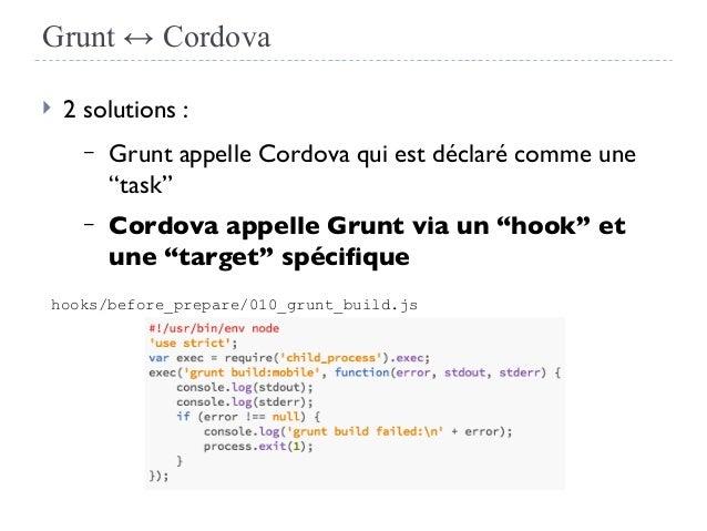 "Grunt ↔ Cordova  2 solutions : – Grunt appelle Cordova qui est déclaré comme une ""task"" – Cordova appelle Grunt via un ""h..."