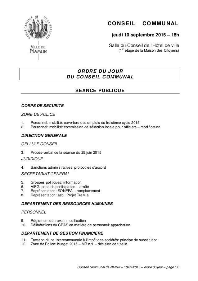 Conseil communal de Namur – 10/09/2015 – ordre du jour – page 1/6 CONSEIL COMMUNAL jeudi 10 septembre 2015 – 18h Salle du ...