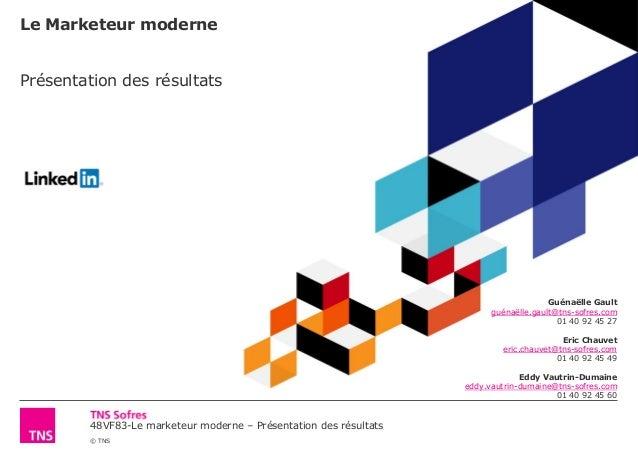 48VF83-Le marketeur moderne – Présentation des résultats © TNS Le Marketeur moderne Présentation des résultats Guénaëlle G...