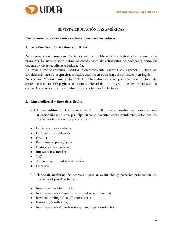 REVISTA EDUCACIÓN LAS AMÉRICAS 1 REVISTA EDUCACIÓN LAS AMÉRICAS Condiciones de publicación e instrucciones para los autore...
