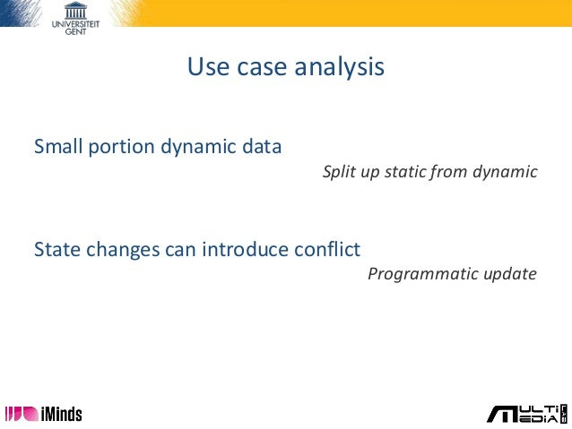 Use case analysis Small portion dynamic data Split up static from dynamic State changes can introduce conflict Programmati...