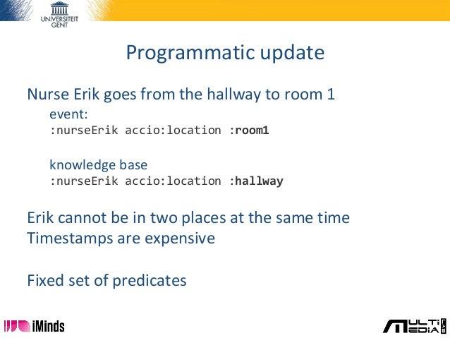Programmatic update Nurse Erik goes from the hallway to room 1 event: :nurseErik accio:location :room1 knowledge base :nur...