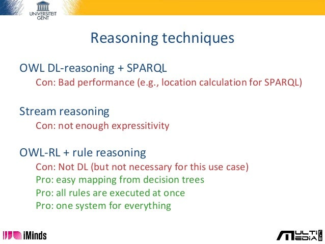 Reasoning techniques OWL DL-reasoning + SPARQL Con: Bad performance (e.g., location calculation for SPARQL) Stream reasoni...