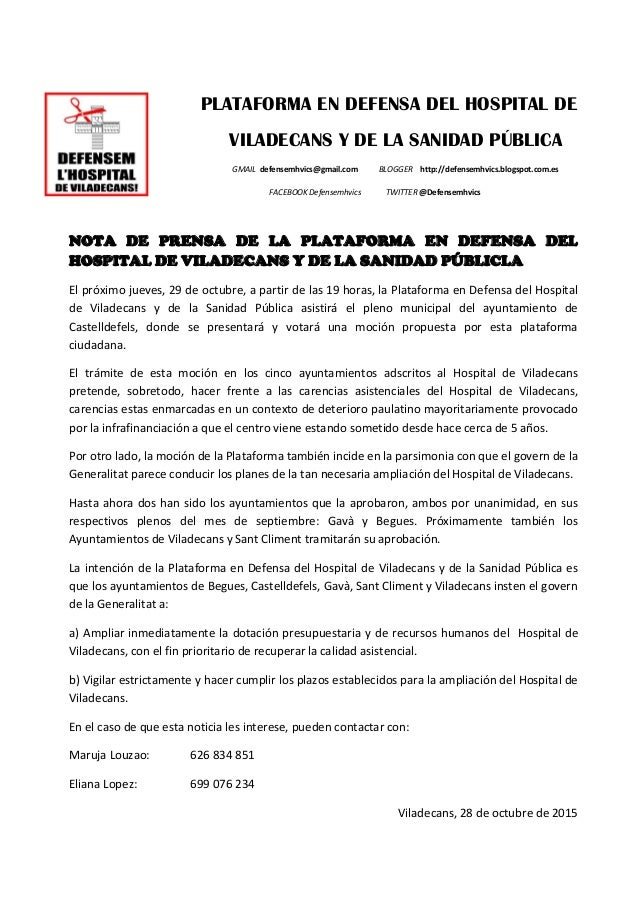 PLATAFORMA EN DEFENSA DEL HOSPITAL DE VILADECANS Y DE LA SANIDAD PÚBLICA GMAIL defensemhvics@gmail.com BLOGGER http://defe...