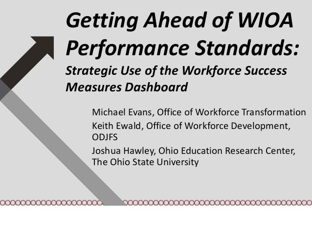 Getting Ahead of WIOA Performance Standards: Strategic Use of the Workforce Success Measures Dashboard Michael Evans, Offi...