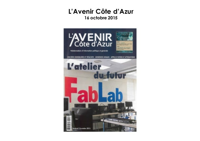 L'Avenir Côte d'Azur 16 octobre 2015