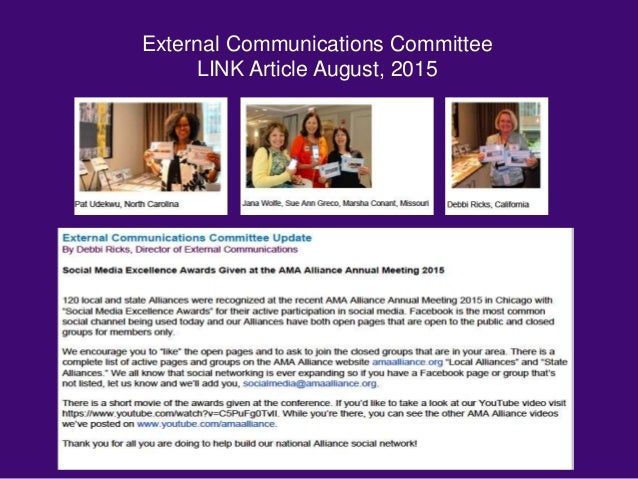 External Communications Committee LINK Article August, 2015