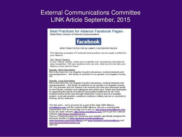 External Communications Committee LINK Article September, 2015
