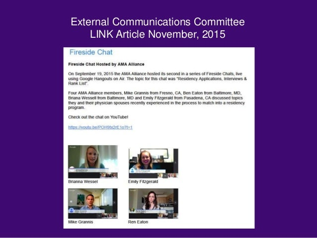 External Communications Committee LINK Article November, 2015