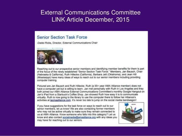 External Communications Committee LINK Article December, 2015