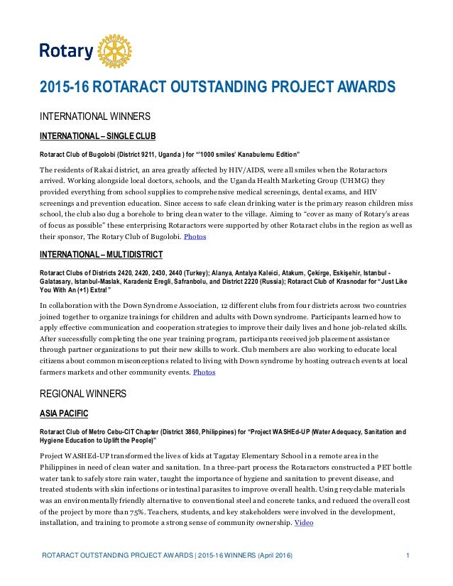 ROTARACT OUTSTANDING PROJECT AWARDS | 2015-16 WINNERS (April 2016) 1 2015-16 ROTARACT OUTSTANDING PROJECT AWARDS INTERNATI...