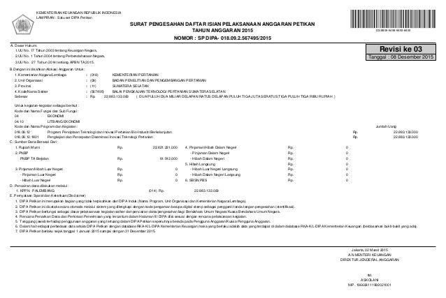 NOMOR : SP DIPA- 018.09.2.567495/2015 TAHUN ANGGARAN 2015 KEMENTERIAN KEUANGAN REPUBLIK INDONESIA LAMPIRAN : Satu set DIPA...