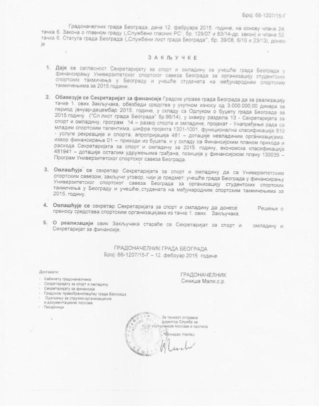 Univerzitetski sportski savez Beograd (2015)