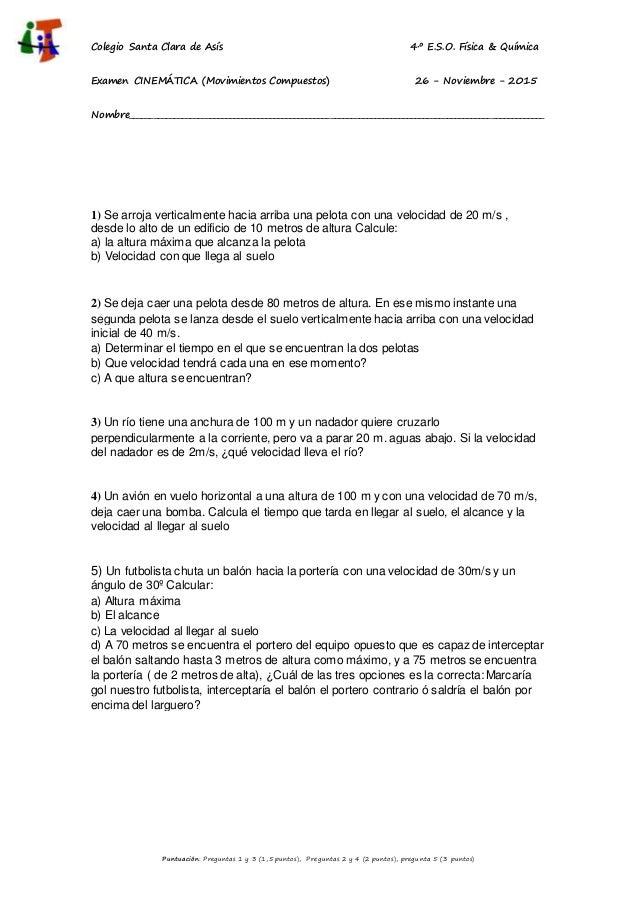 2015 2016. 4º eso f&q. examen temas 3 y4