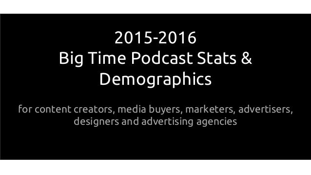 2015-2016 Big Time Podcast Stats & Demographics for content creators, media buyers, marketers, advertisers, designers and ...