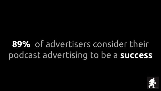 89% of advertisers consider their podcast advertising to be a success