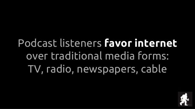 Podcast listeners favor internet over traditional media forms: TV, radio, newspapers, cable