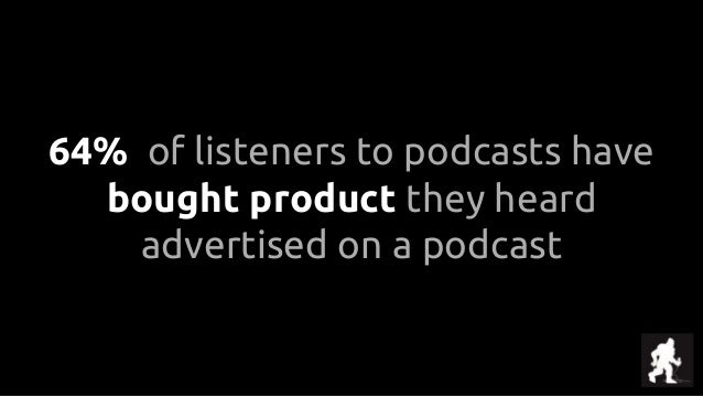 64% of listeners to podcasts have bought product they heard advertised on a podcast