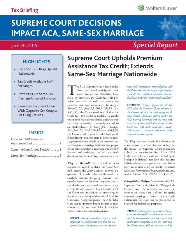 Tax briefing supreme court decisions impact aca same sex marriage special report tax briefing june 26 2015 supreme court decisions impact aca fandeluxe Images