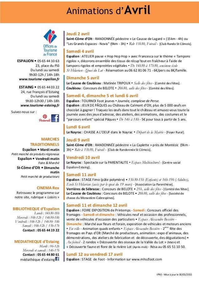 IPNS - Mise à jour le 30/03/2015 Jeudi 2 avril Saint-Côme d'Olt : RANDONNÉE pédestre « Le Causse de Lagard » (15km - 4h) o...