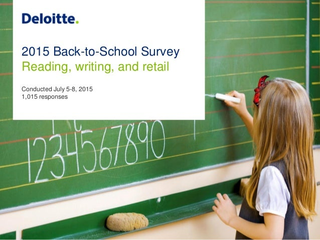 2015 Back-to-School Survey Reading, writing, and retail Conducted July 5-8, 2015 1,015 responses