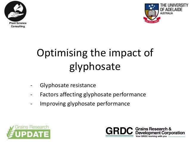 Optimising the impact of glyphosate - Glyphosate resistance - Factors affecting glyphosate performance - Improving glyphos...