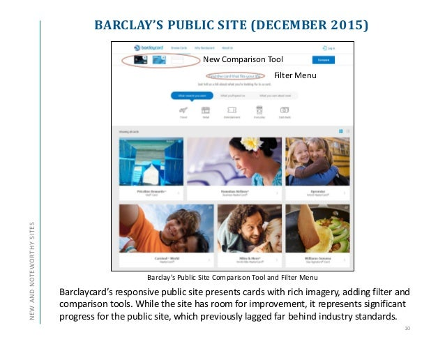 BARCLAY'S PUBLIC SITE (DECEMBER 2015) 10 New Comparison Tool Barclaycard's responsive public site presents cards with rich...