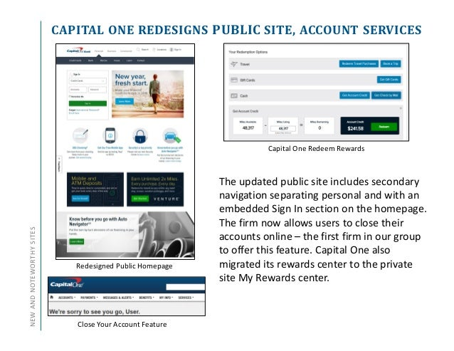 CAPITAL ONE REDESIGNS PUBLIC SITE, ACCOUNT SERVICESNEWANDNOTEWORTHYSITES Capital One Redeem Rewards The updated public sit...