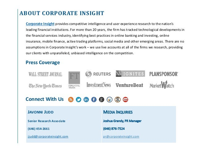 ABOUT CORPORATE INSIGHT Connect With Us Corporate Insight provides competitive intelligence and user experience research t...