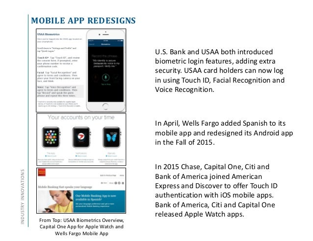 MOBILE APP REDESIGNSINDUSTRYINNOVATIONS In 2015 Chase, Capital One, Citi and Bank of America joined American Express and D...